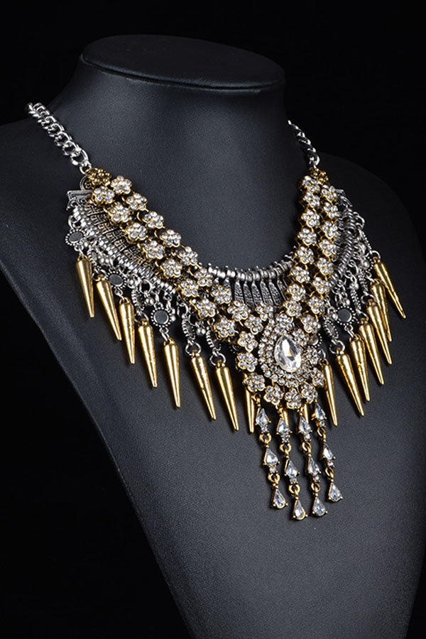 Crystal Plum Flower Gold Bullet Tassel Chunky Necklace