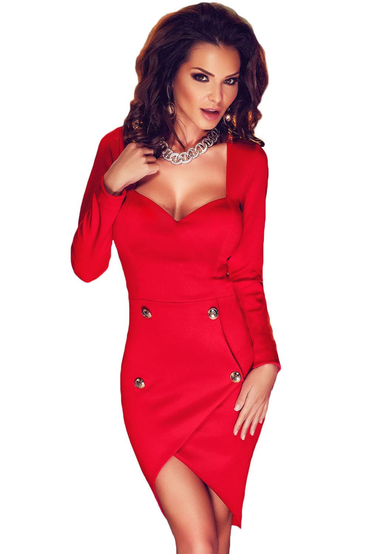 Купить красное платье с запахом