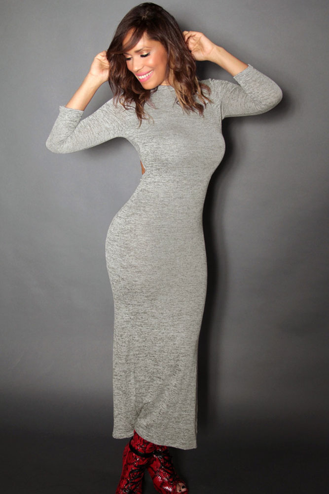48bb224d3a3f200 ... Серое длинное трикотажное платье с открытой спиной. img · img img img  img