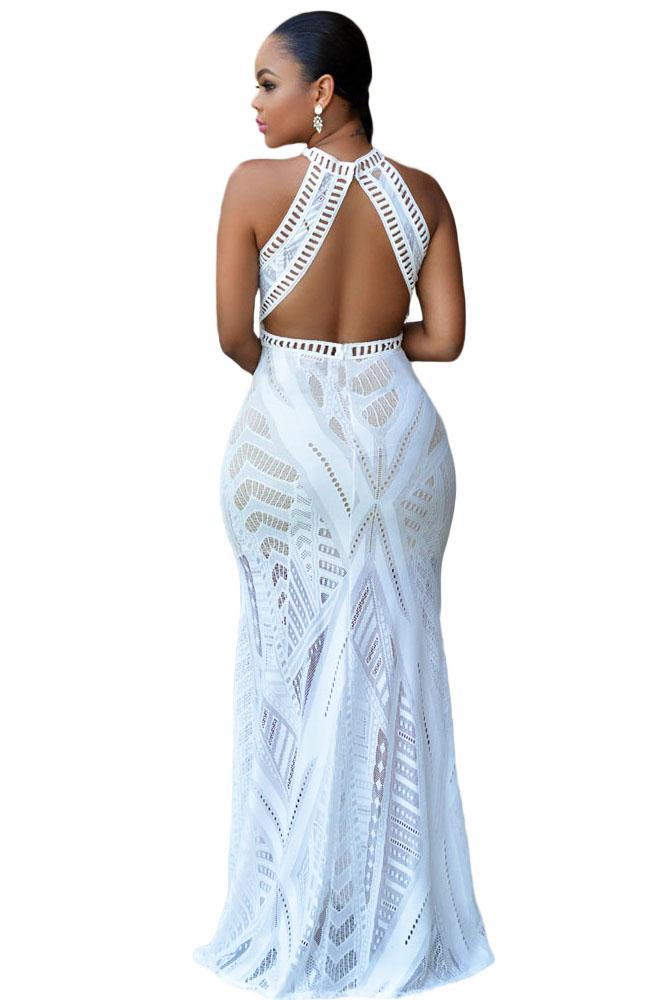Белое полупрозрачное платье макси с открытой спиной - купить ... cde8ca71bfb