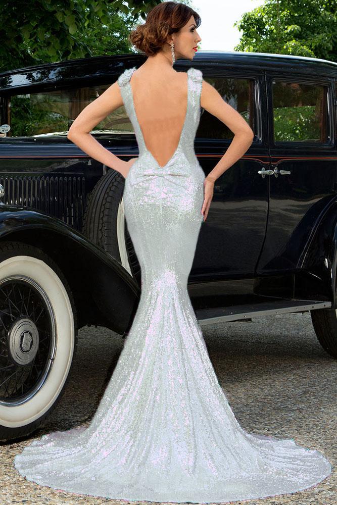 Белое блестящее платье русалка с открытой спиной - купить наложенным ... 2de29ab42fe