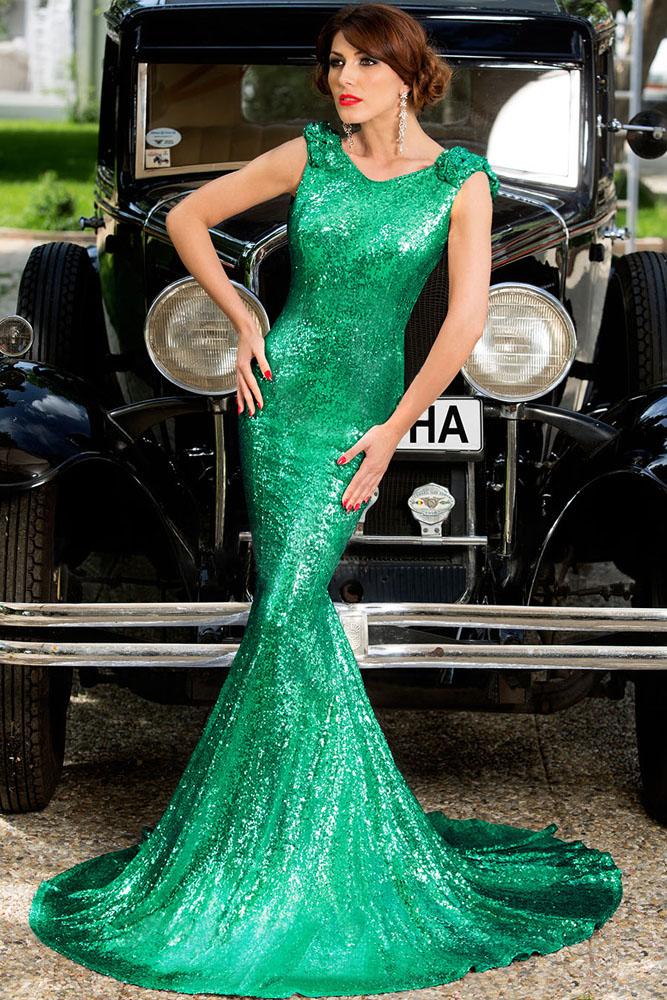 4b85ecec075 Зеленое лестящее платье русалка с открытой спиной - купить в Барнауле