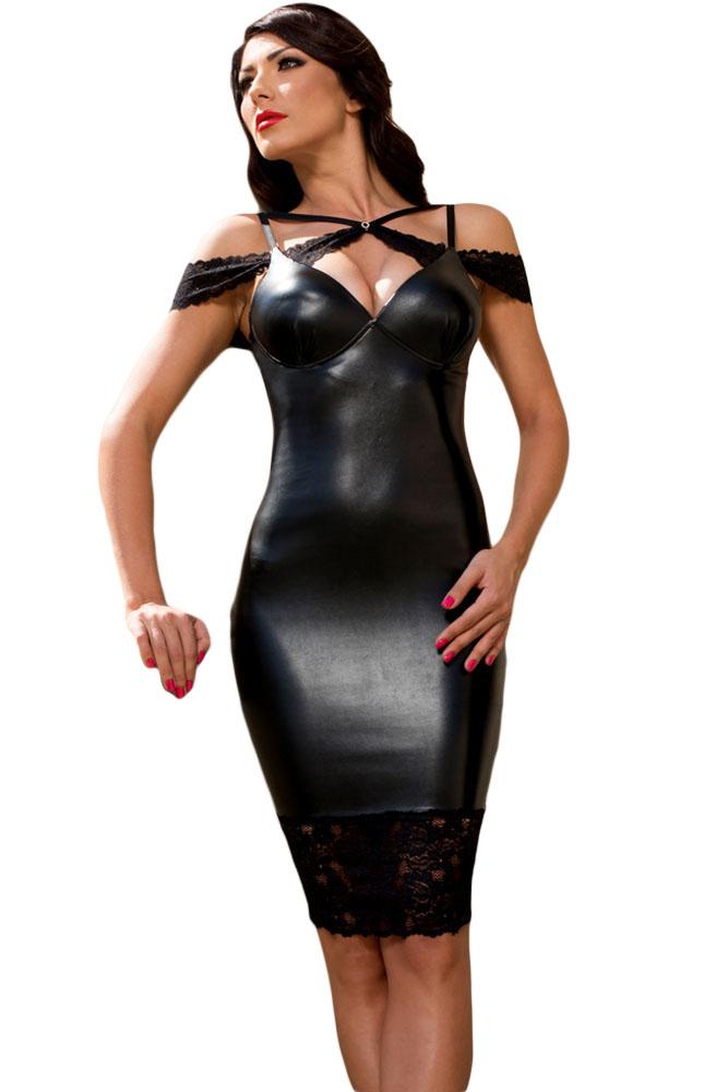 9d917cb30f91 Черное кожаное платье с открытой спиной и с гипюровыми вставками ...