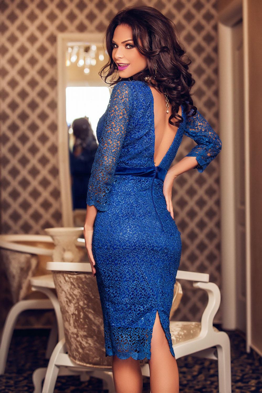 c63c713887c Синее кружевное платье миди с открытой спиной - купить наложенным ...