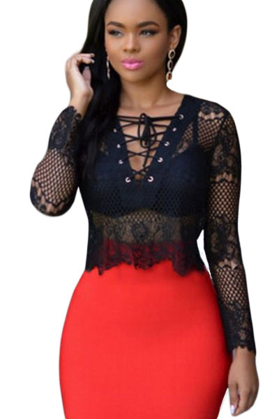 Black Long Sleeve Lace-up V Neck Club Top