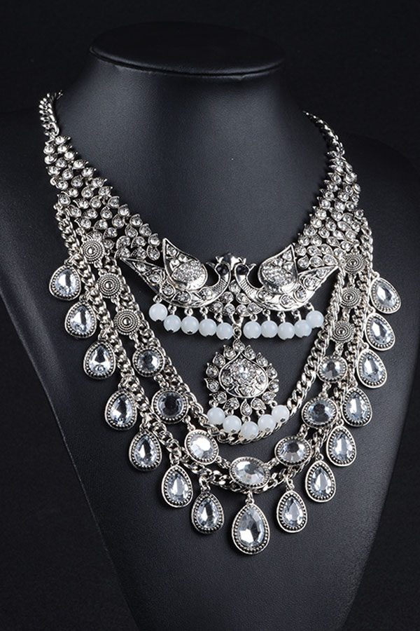 Peacock In Love Gorgeous Diamond Collar Necklace