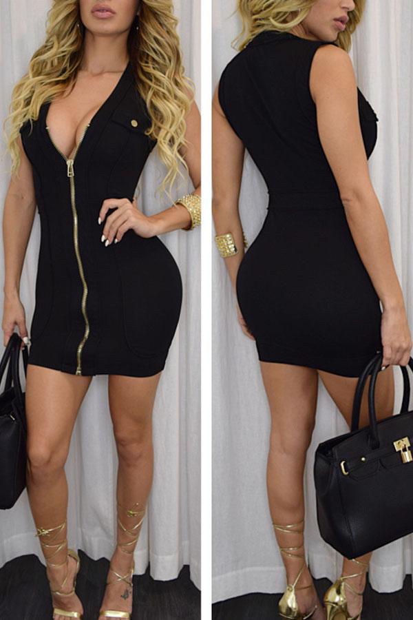 Платье короткое с молнией спереди