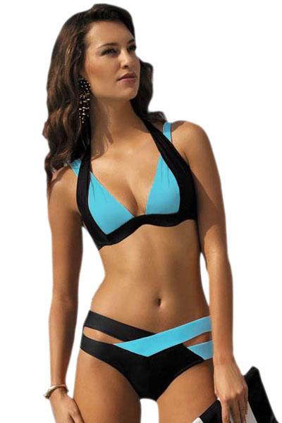 fb36012f5e7d1 Черно-голубой бандажный купальник бикини - купить в Туле