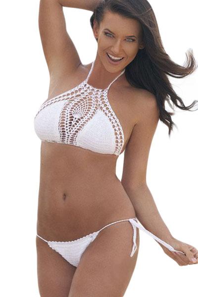 d9771475e2125 Белый вязаный купальник бикини на завязках с перфорацией - купить ...