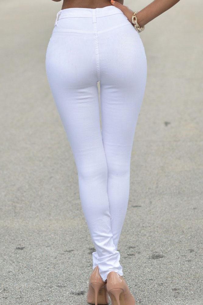 97c40ecd34d Белые джинсы скинни с высокой посадкой и разрезами - купить ...