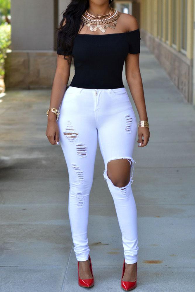 89159670155 Белые рваные джинсы скинни с завышенной талией - купить в Перми