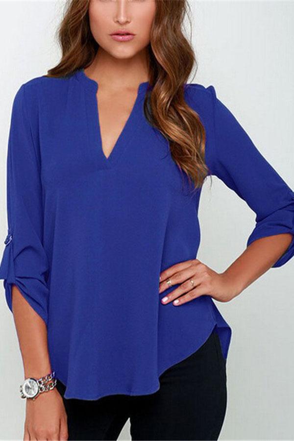 Синяя шифоновая блузка с доставкой