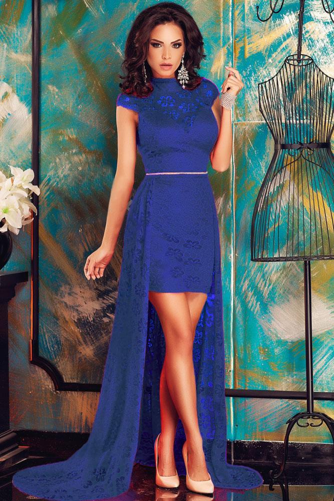 Синие платья с шлейфом