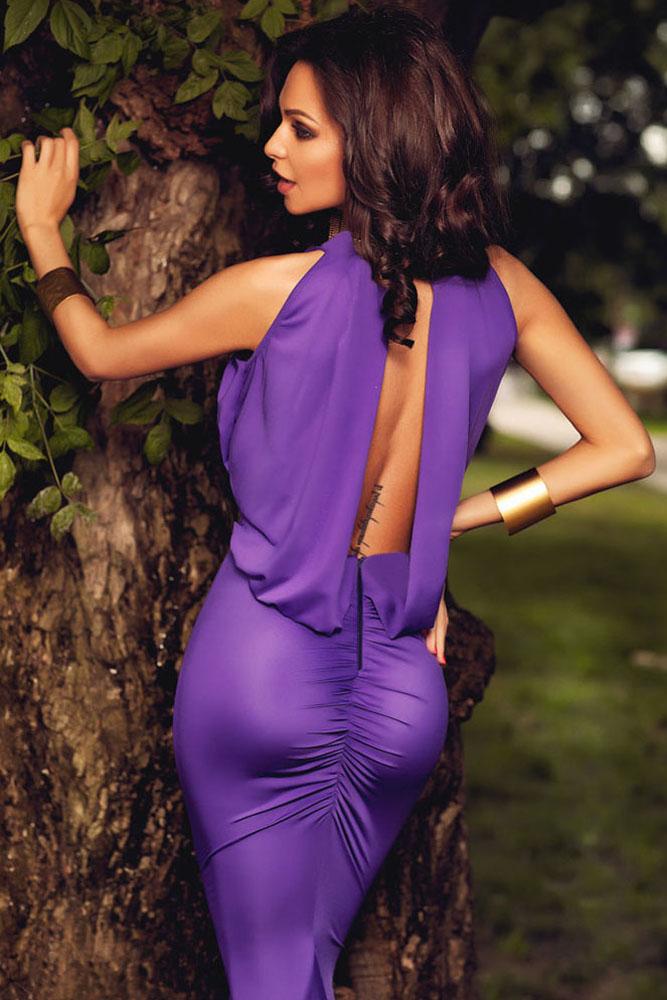 Фиолетовое шелковое платье