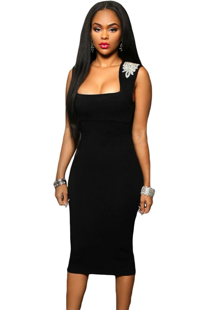 3fef59a6d5a8 Элегантное черное платье миди с квадратным вырезом - купить ...