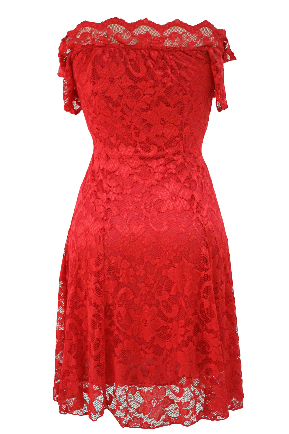 Red Lace Off the Shoulder Skater Dress