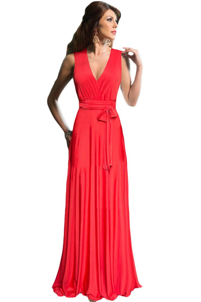 064273db1a7 Красное платье в «пол» с плиссированной юбкой и поясом - купить наложенным  платежом