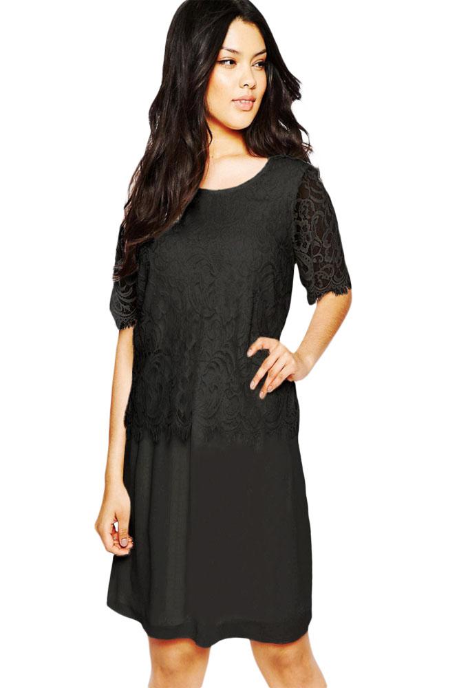 a13fe5bcb7b Черное прямое платье с ажурными вставками - купить наложенным платежом