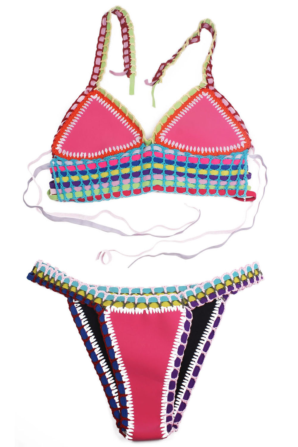 Multicolor Tie Up Crochet Pink Neoprene Bikini Swimsuit