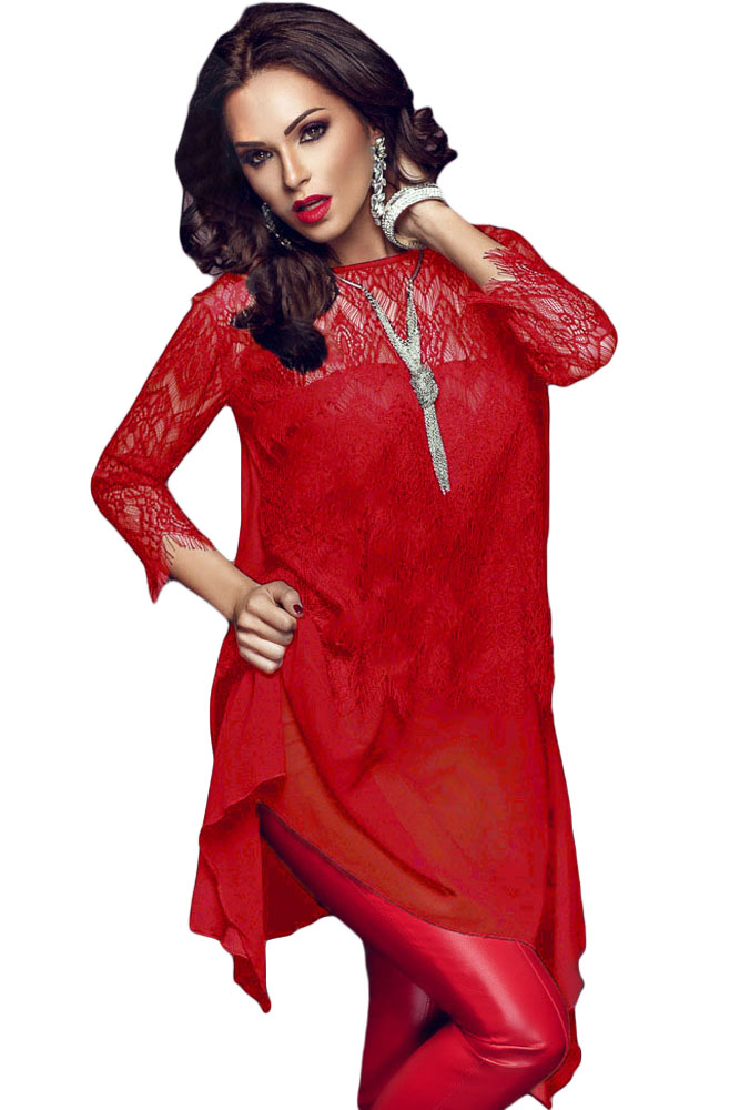Шифоновая красная блузка