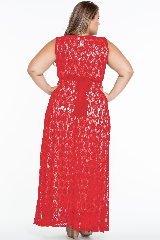 0e5835f9c72 Красное длинное кружевное платье с поясом - купить наложенным платежом