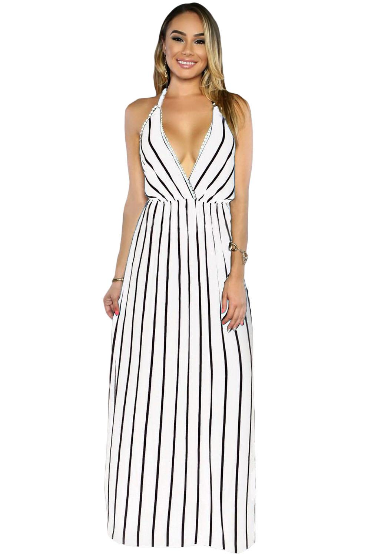 Белое в черную полоску приталенное платье «в пол» с открытой спиной и  глубоким декольте 2bf8e8094aa