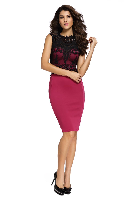 67f3ed0fdfe Бордовое платье-футляр с черным кружевным верхом - купить наложенным ...