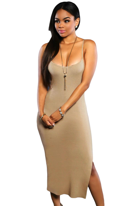 e6e781130e6 Бежевое обтягивающее платье на бретелях - купить наложенным платежом