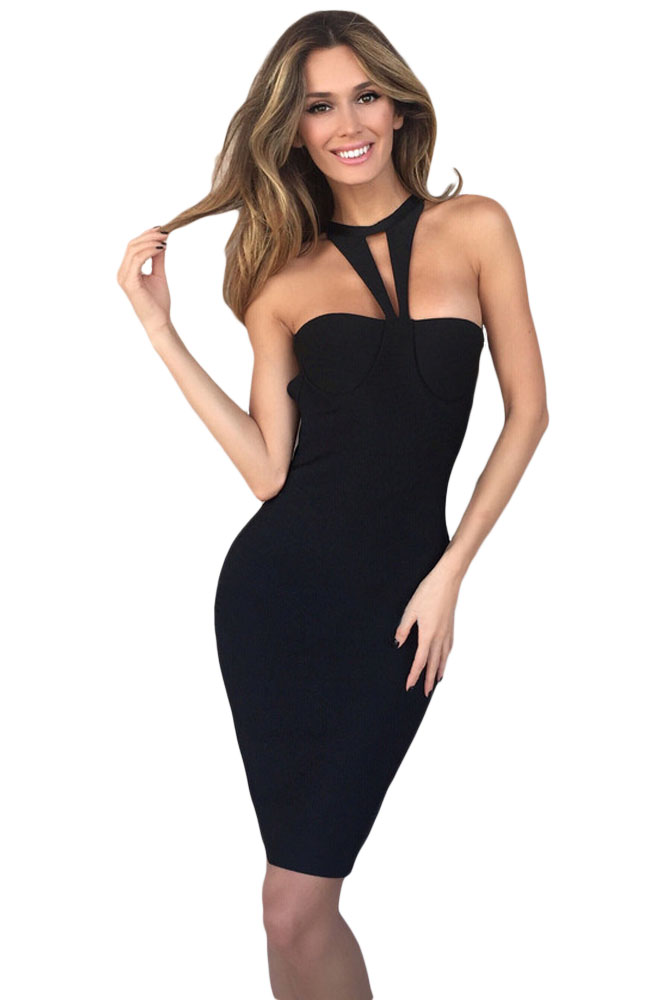 Black Strappy ����������� ������ ��������� ������ ���� � �������� ���������utout Halter Top Bandage Dress
