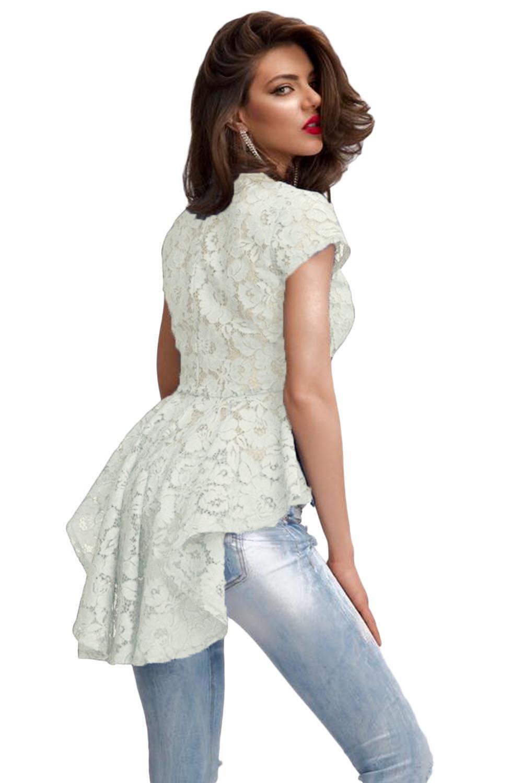 456c33b01ef Белая ажурная женская рубашка с баской - купить наложенным платежом