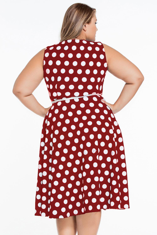 Платье красное в белый горошек корсетное