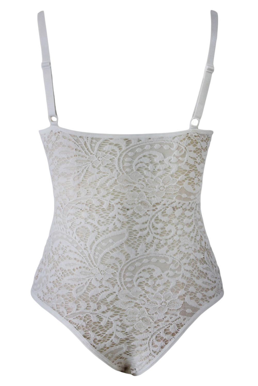 Белое ажурное боди с чашечками - купить наложенным платежом - photo#30