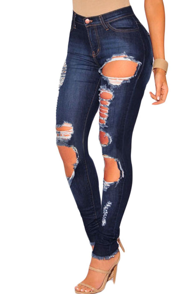 f2b25f7fbd3 Темно-синие рваные джинсы скинни - купить в Санкт-Петербурге
