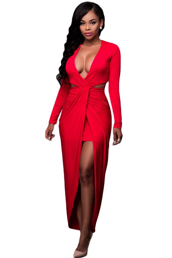 cb7959c3eb0 Алое платье с вырезом под топом и с запахом - купить наложенным платежом