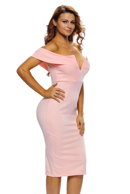 3cca02a7f64 Розовое бандажное платье с открытыми плечами - купить наложенным ...