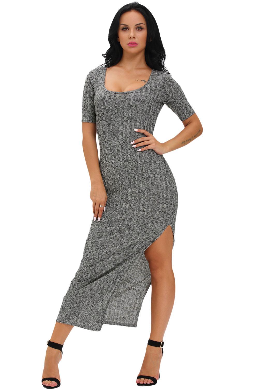 9f7aae36a5f Серое облегающее платье с разрезом на юбке - купить в Челябинске