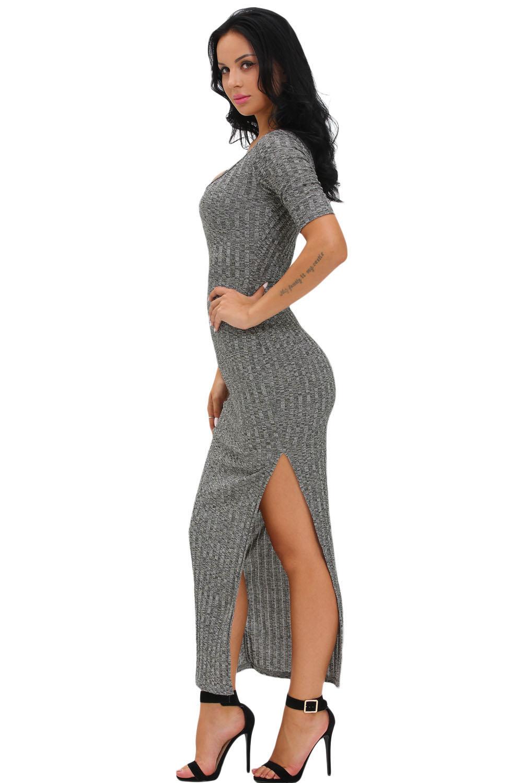 e1a2516abd1 Серое облегающее платье с разрезом на юбке - купить в Тюмени