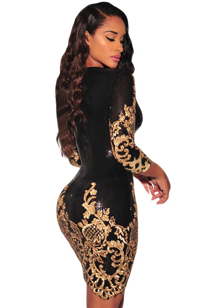 769a86ededc Черное блестящее платье с золотым кружевом - купить наложенным платежом