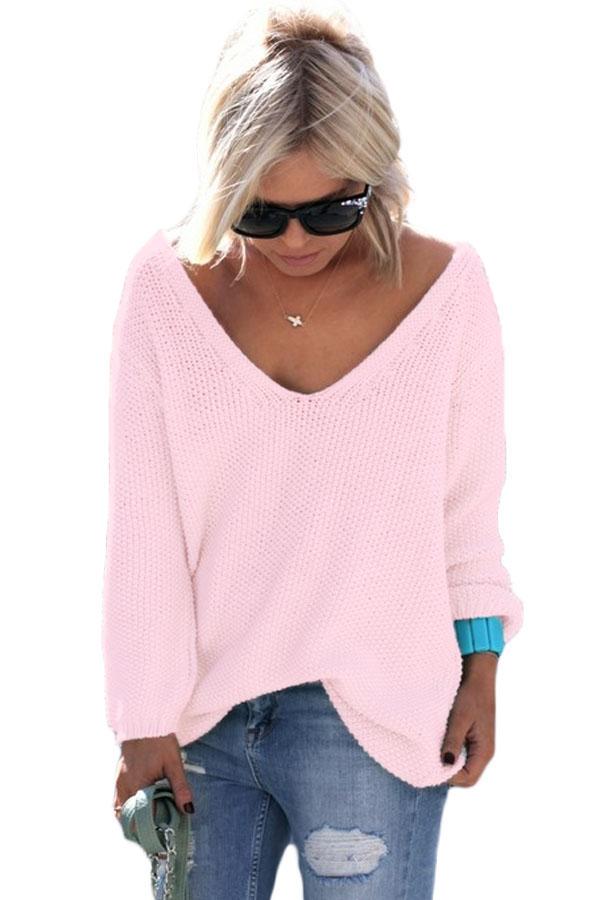 розовый свободный вязаный свитер с V образным вырезом и длинными