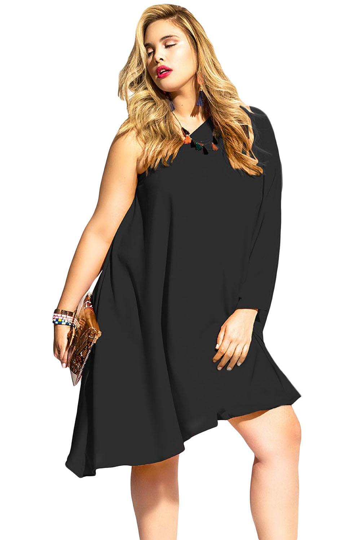 a9d21b9d170 Черное асимметричное платье-балахон на одно плечо - купить ...