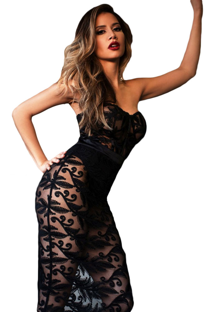 Black Strapless Sheer Lace Romper Dress