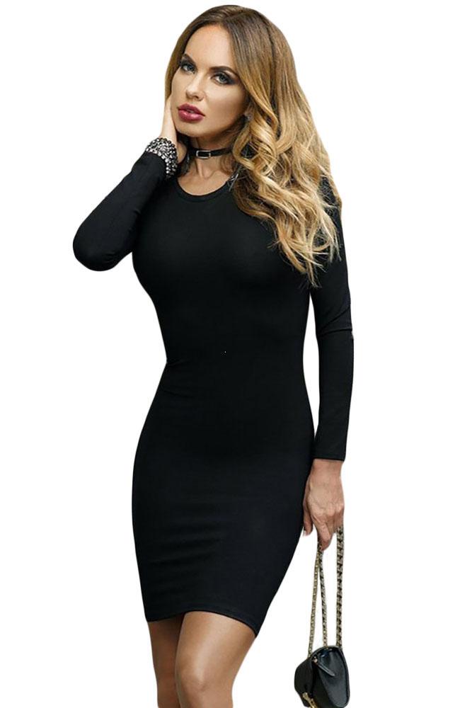 d41090eda4c Черное платье-футляр с длинными рукавами и шнуровкой на обнаженной спине