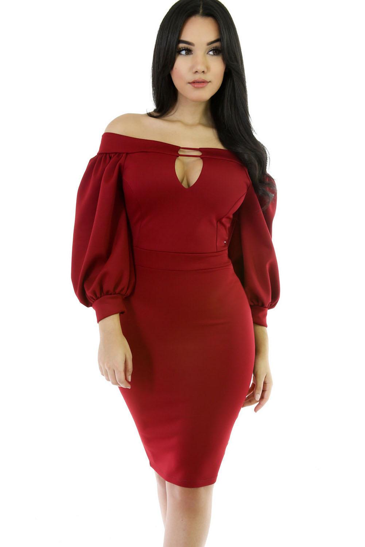 7100a00f59a3d22 Красное платье-футляр до колен с приспущенными длинными рукавами-фонариками