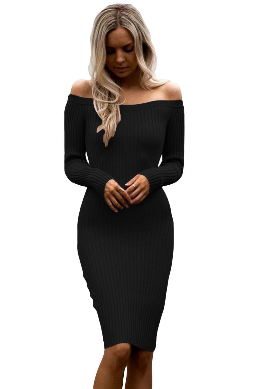 030fc9e7a165 Черное платье-футляр с открытыми плечами и длинными рукавами