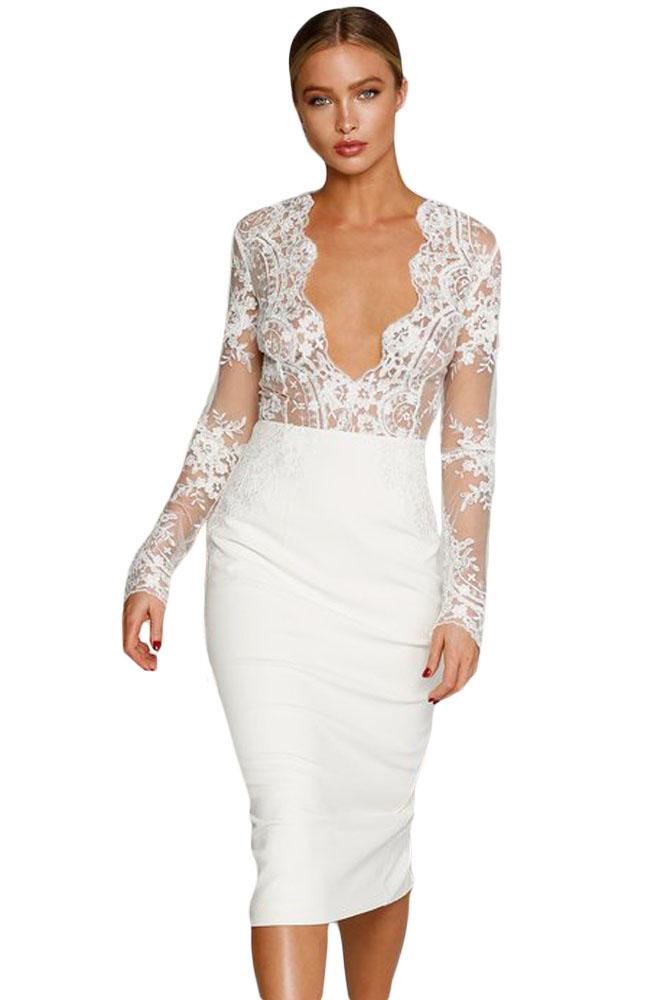 Белое платье с юбкой карандаш