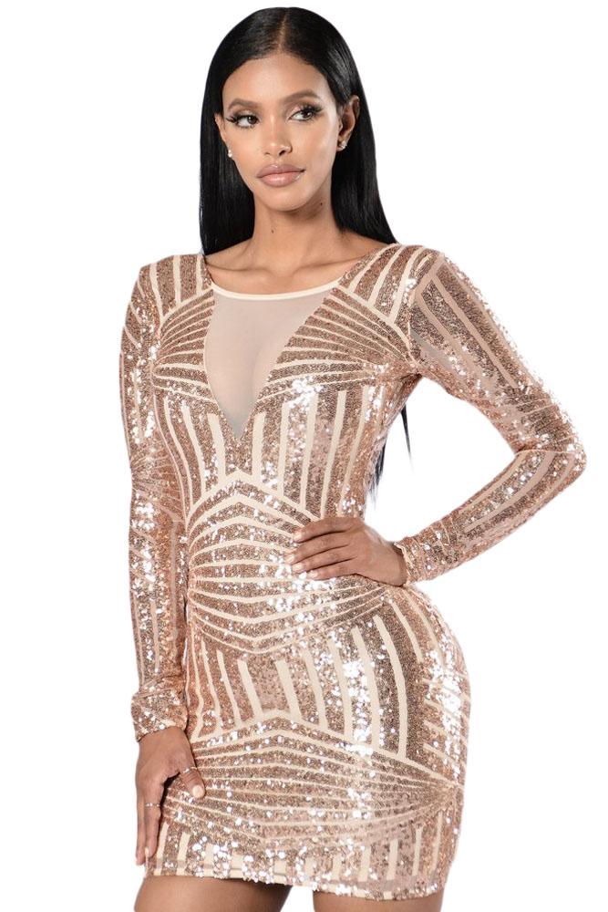 cd62ccb7ed6 Блестящее розово-золотистое мини платье с длинными рукавами и обнаженной  спиной