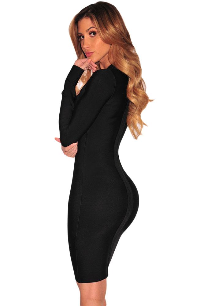 6ec29ac6376d Черное платье-футляр с длинными рукавами и вырезами на груди