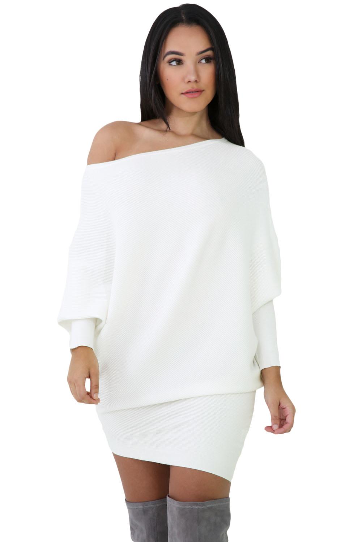 79fd6e6cff30b54 Белое вязаное платье-свитер на одно плечо - купить наложенным платежом