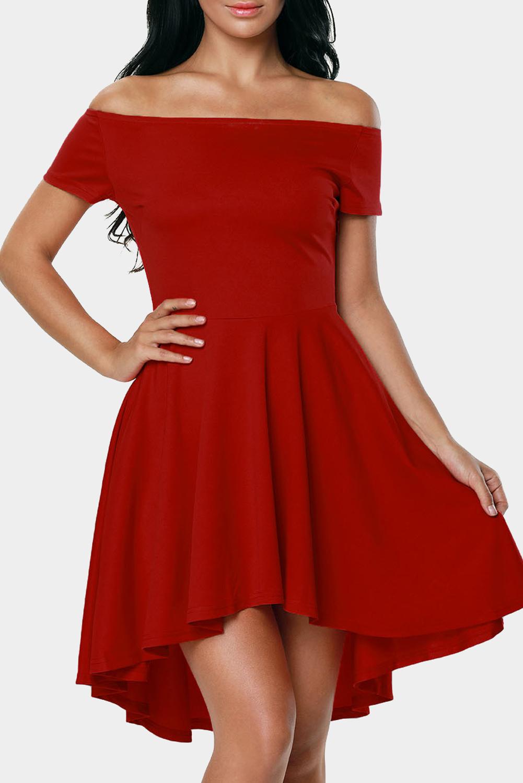 8b096a37c94 Алое платье со спущенными рукавами и удлиненной сзади пышной юбкой ...