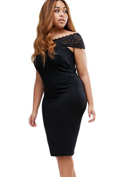865ef0d1033 Черное платье-футляр со спущенными короткими рукавами из кружева ...